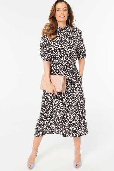 bf6a4a41e3ab Animal Print Roll Neck Midi Dress