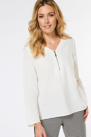 NaraWoman Zip Front Blouse