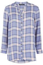 Collarless Check Shirt