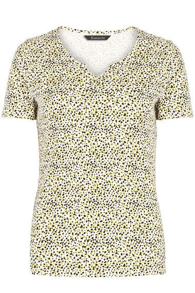 Animal Spot Print Notch Neck T-Shirt