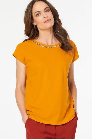 Beaded Neck Linen Blend T-Shirt