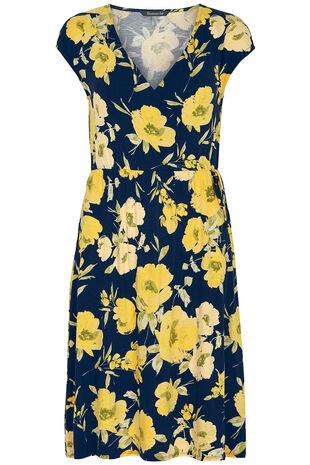Floral Print Jersey Wrap Dress