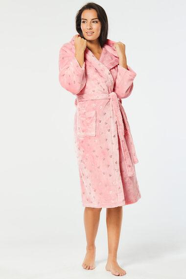 Foil Heart Print Robe