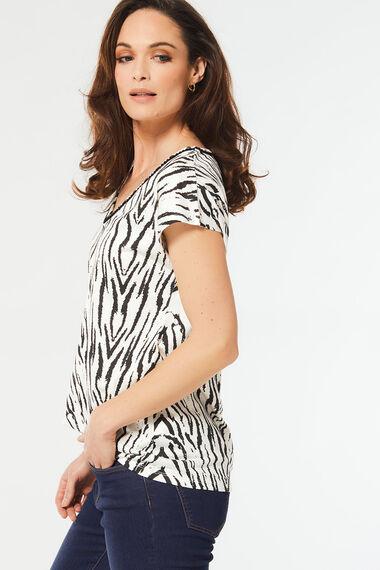 Zebra Print Pom Pom Trim T-Shirt