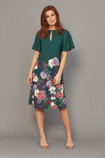 Border Print Flared Sleeve Dress