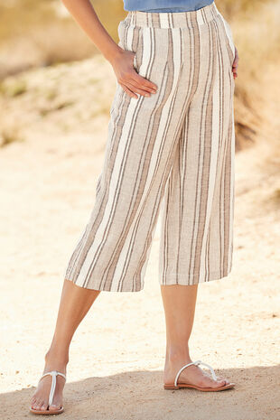 Natural Stripe Linen Blend Culotte