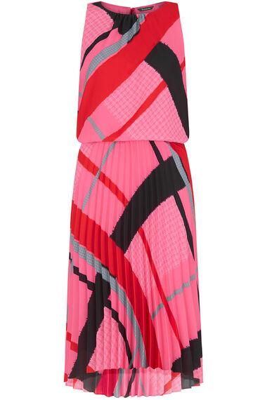 Sleeveless Oversize Check Pleated Dress