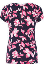 Floral Print V Neck Jersey Top