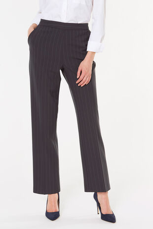 Pinstripe Straight Leg Trousers
