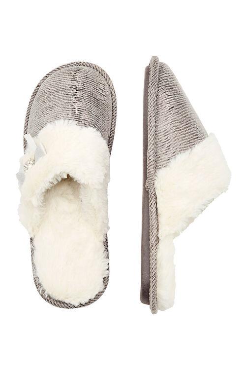 Fur Trim Closed Toe Mule