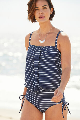 Stripe Blouson Swimsuit