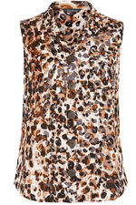 Sleeveless Animal Print Linen Blend Shirt