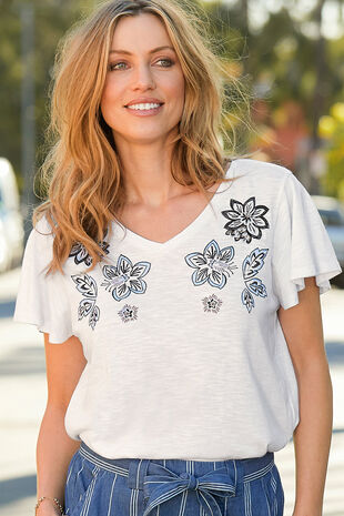 Embroidered Neckline T-Shirt