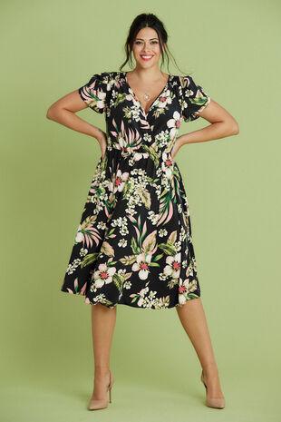 Scarlett & Jo Tulip Sleeve Pocket Dress In Floral Print