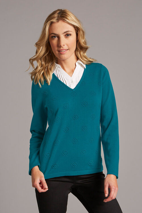 Mock Shirt Textured Jumper