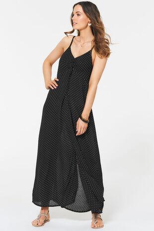 Spot Twist Front Maxi Dress