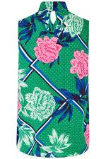 Floral Print Keyhole Blouse