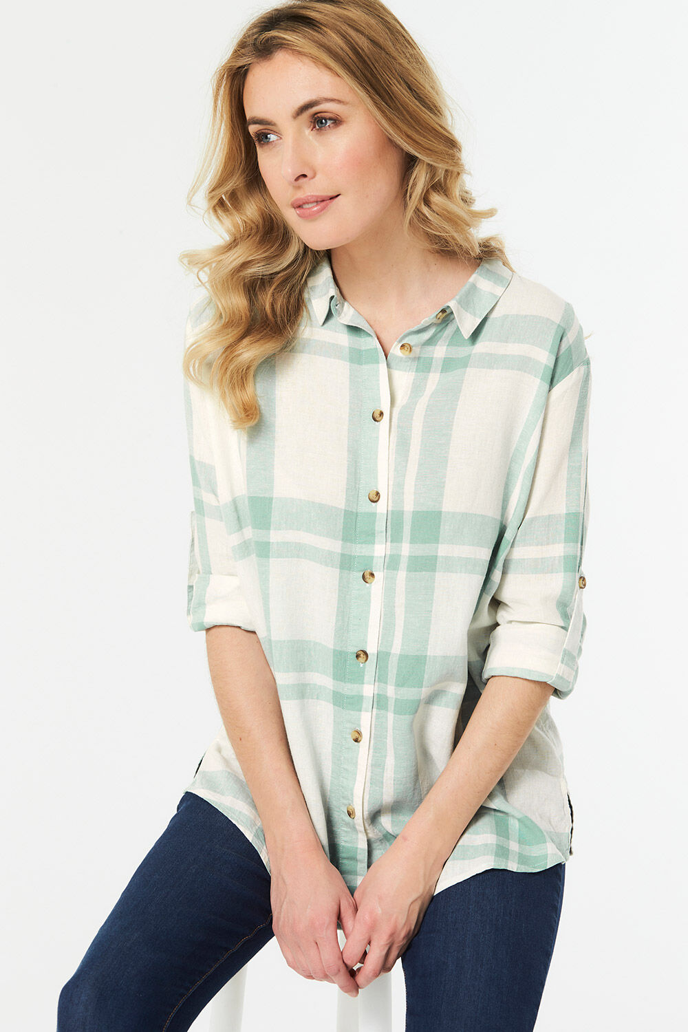 317eb0a669c Long Sleeve Linen Check Shirt. Hover to zoom