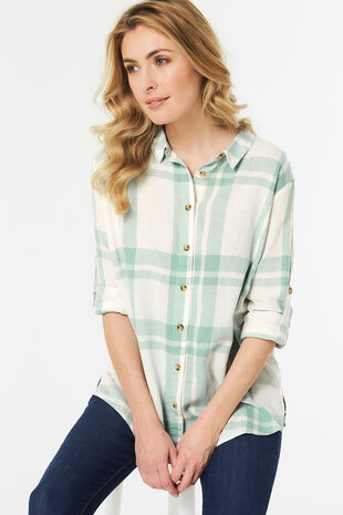 Long Sleeve Linen Blend Check Shirt