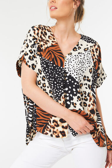Button Through Top in Multi Animal Print