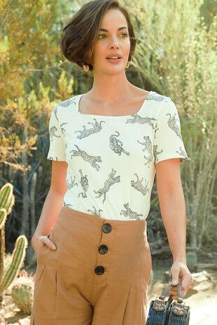 Square Neck Leopard Print T-shirt