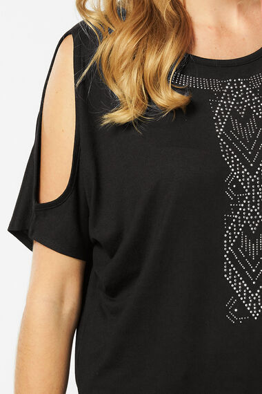 Cold Shoulder Top with Hot Fix Detail