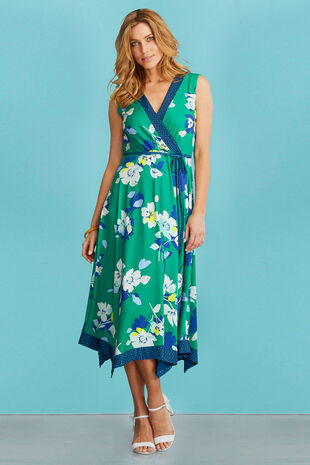 Floral Hanky Hem Wrap Dress