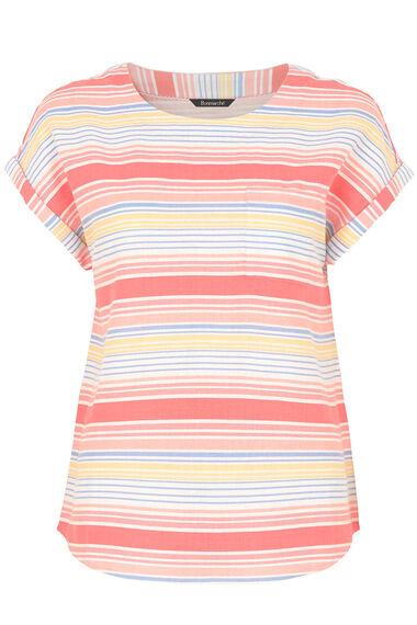 Stripe Print Linen Mix Top
