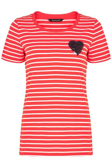 Sequin Heart Stripe T-Shirt
