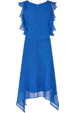 Ditsy Ruffle Sleeve Hanky Hem Dress
