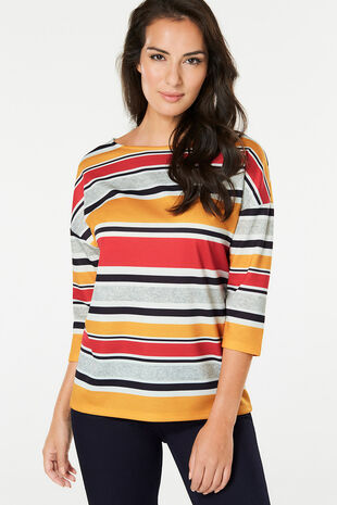 Colour Block Stripe Printed T-Shirt