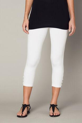 Crop Button Hem Detail Legging