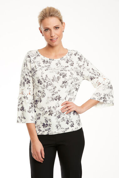 Printed Lace Insert Jumper