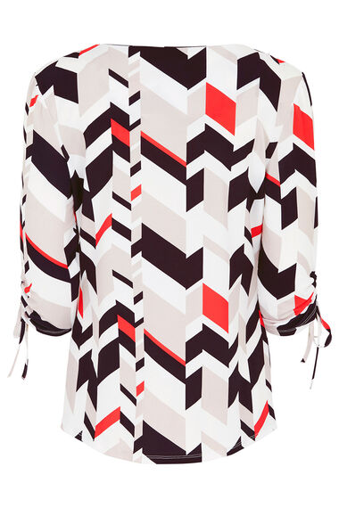 Geo Print Top With Ruched Sleeves