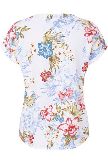Tropical Floral Linen Blend Shell Top