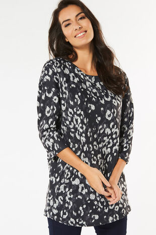 Animal Print Short Sleeve Tunic