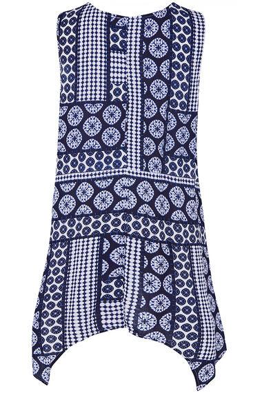 Sleeveless Tile Print Hanky Hem Tunic