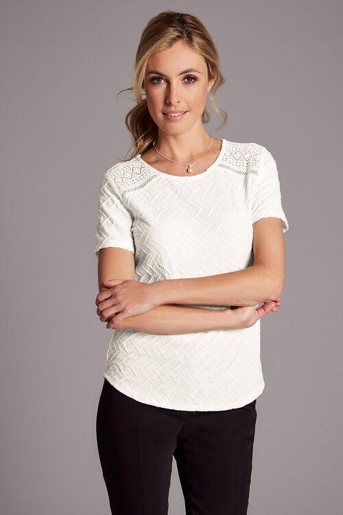 Textured Jersey Short Sleeve Top With Crochet Insert