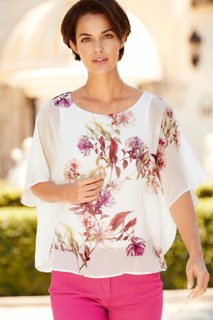 Floral Printed Double Layer Blouse With Necklace