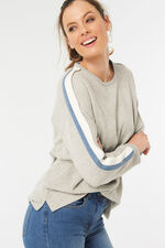 Sweatshirt With Stripe And Piping