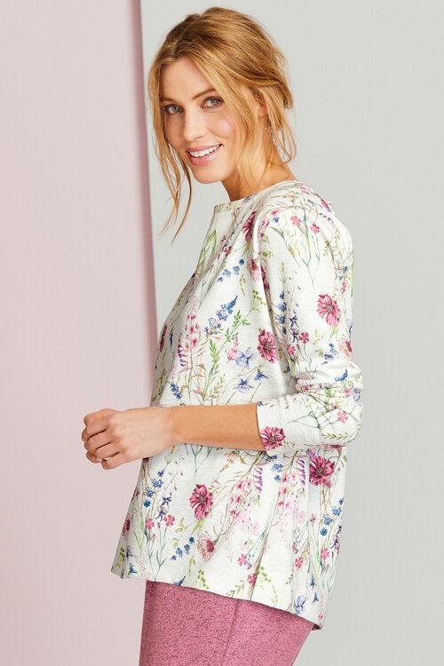 Floral Print Textured Top