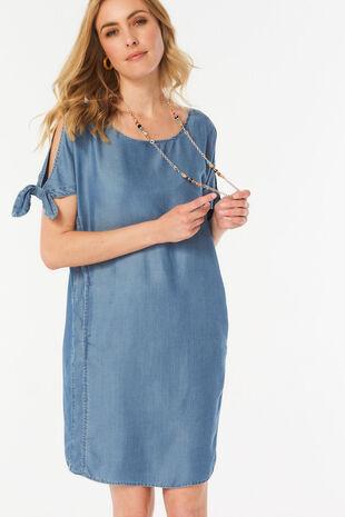 Bow Sleeve Tencel Dress