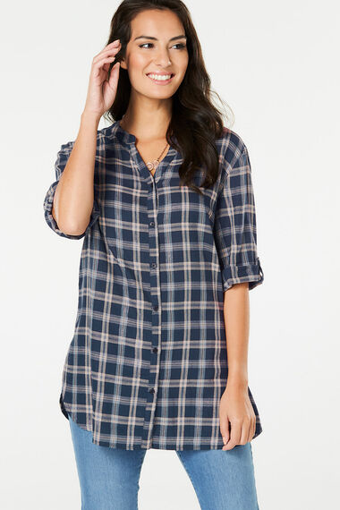Check Shirt Without Collar