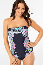 Navy Bandeau Swimsuit With Detachable Straps