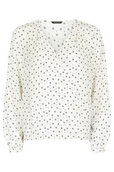 Geo Print Cross Front Blouse