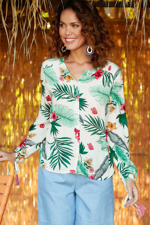 Isla & Rose Tropical Print Tassel Shirt