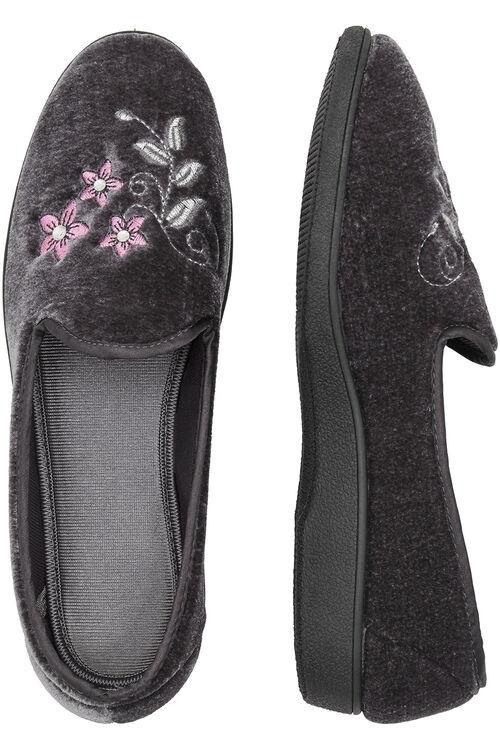 Embroidered Velour Slipper