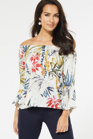 Izabel Frill Sleeve Bardot Top