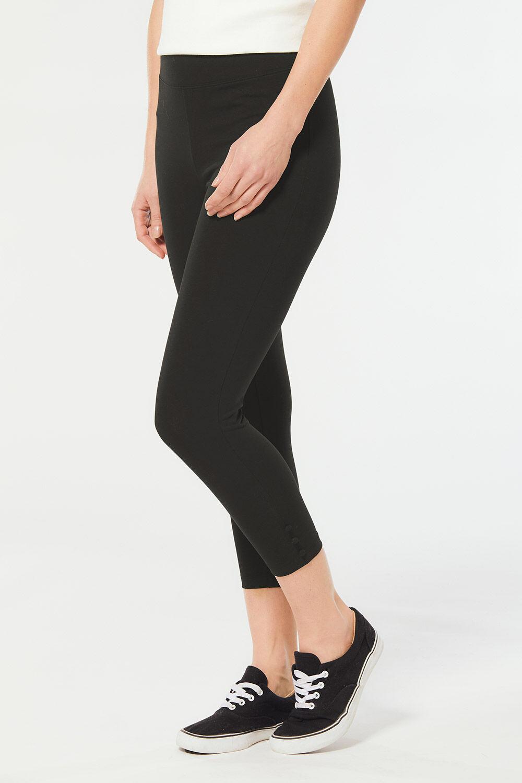 Bonmarché BLACK Button Hem Full Length Leggings size 12,14,16