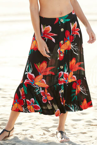 Tropical Crinkle Maxi Skirt